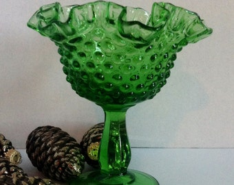 Apple Green Hobnail pedestal Compote from Fenton