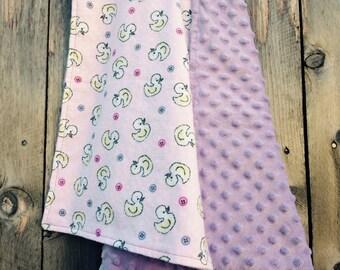 Little ducky baby blanket - baby duck flannel blanket - baby shower gift - minky baby blanket