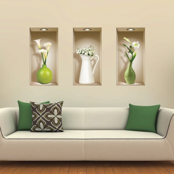Free shipping set 3 green vases wall stickers 3d art magic - Stickers trompe oeil mural ...