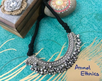Adjustable Black Thread Oxidized Necklace