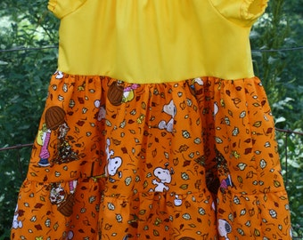 Size 4 Three Tier dress- Fall Snoopy