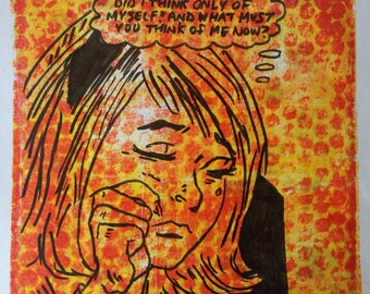 "Vintage Comic Inspired Monoprint ""Agnes"""