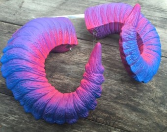 UV Ram Horns - Super Awesome Horns!!  Aesthetic 80's Bright Colors that Glow = Totally Rad!!