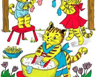 The Three Little Kittens - Vintage Nursery Rhyme Print
