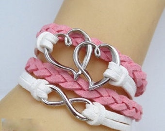Multilayer Leather Double Hearts & Infinity Bracelet