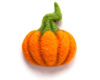 Pumpkin Brooch - Hand Felted Brooch - Wool Plant - Halloween jewelry
