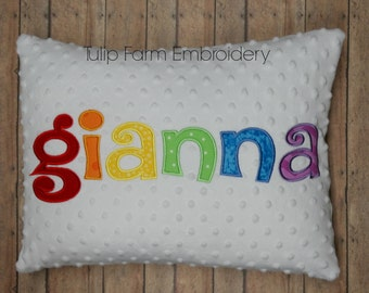 Minky Pillow Cover - Rainbow Pillow Cover - Custom Name Pillow - Appliqued Pillow Cover - Nursery Pillow Cover - White Minky Pillow
