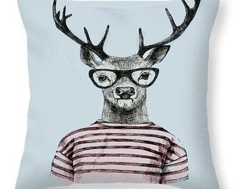 hipster Deer  Throw Pillow