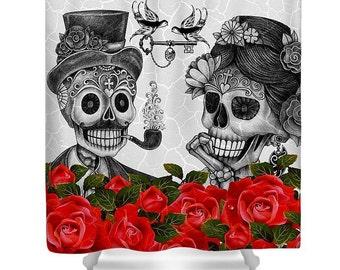 "Sugar Skull Skeleton Shower Curtain ""Small Talk "" Gray , Red Rose, Skeletons in Love Series"