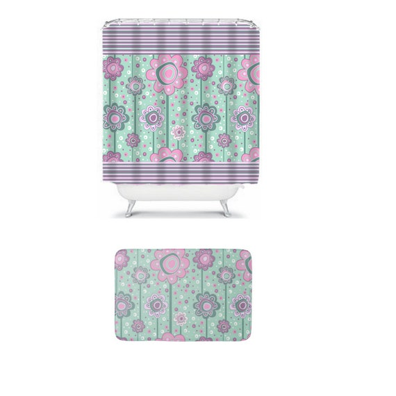 Items Similar To Teal Shower Curtain Floral Lavender Pink Boho Matching Ba