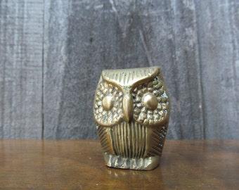1960's Mid Century Mini Brass Owl