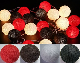 20 Red Black White Cotton Ball String Lights Fairy Lights Christmas Lights