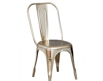 Bonsoni Baudouin Industrial Chair Silver Made From Reclaimed Metal And Wood
