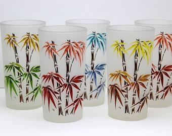 Gay Fad Bamboo Tiki Frosted Glass Highball Tumblers Mid Century Barware