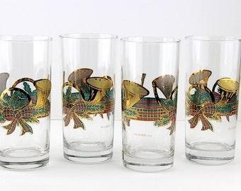 Vintage Culver 22K Gold Yule Horn Highball Glasses Set Of 4 Holiday Barware