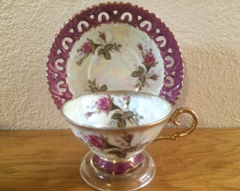 OPALESCENT ROSE BUD Tea Set, Luster ware Doily Saucer and Pedestal Cup, Magenta Rose Bud Tea Set, Rose Bud Cup and Plate
