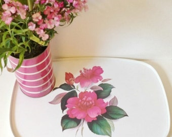 Vintage tray, melamine plastic tray with pink rose print