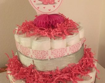 Baby Girl Elephant Diaper Cake
