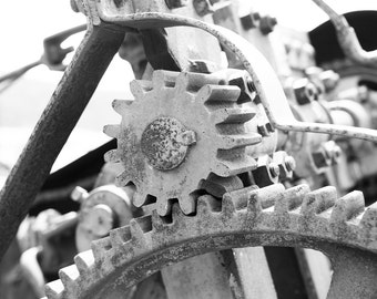 Black and White Photography, Industrial Wall Art Print, Gear Machinery Home Office Decor, Monochrome Photograph, Colorado USA Photo