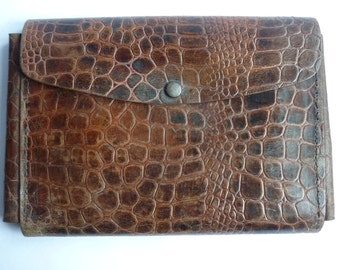 vintage french leather pencil roll, pencil wallet, vintage school supplies