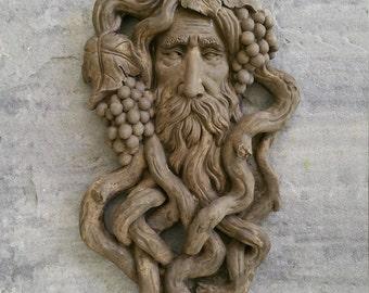 """Nature Garden Greenman Grape Harvest Sculptural wall relief bust Neo-Mfg 17"""""""