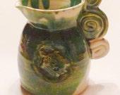 Handmade turquoise Turtle creamer/small pitcher