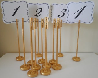 Set of 10 Handmade Extra Tall Gold Wood Table Number Holders Table Card Holder - Rustic Elegance