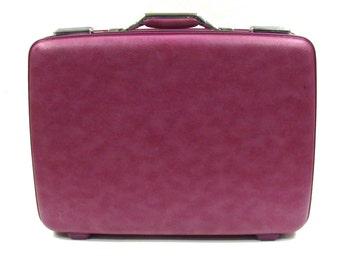 Vintage Purple American Tourister Suitcase - 1970s