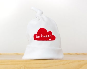 Newborn knotted hat. Be happy