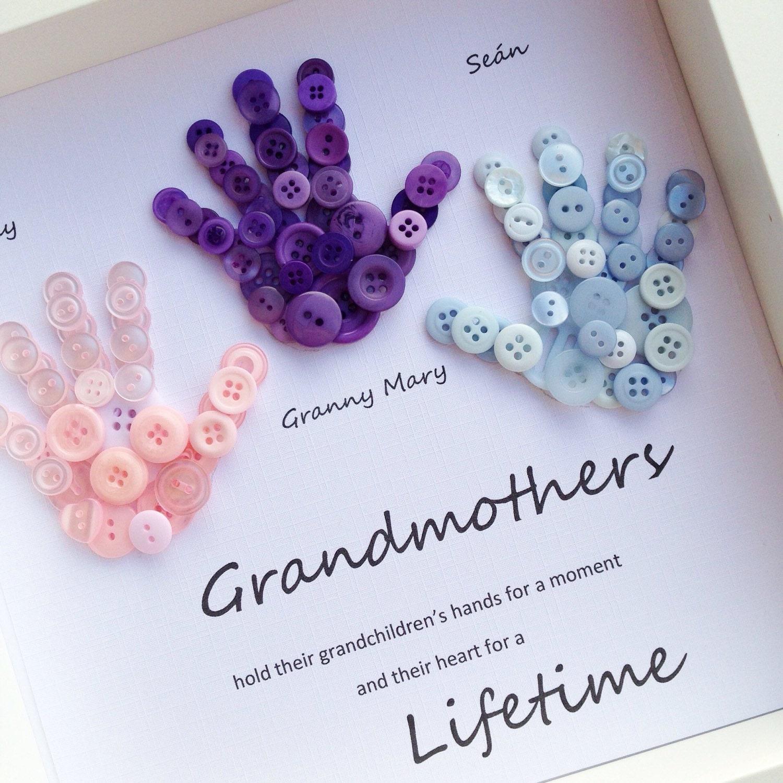 Grandmother Gift Button Art Button Handprints Mother's