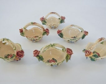 Vintage Italian Individual Salt Cellars - 6 mini baskets, Capidomonte style roses - 1940s - hand painted porcelain, floral, flowers, ornate