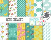 "Spring Digital Paper - ""April Showers"" - rainy weather scrapbook paper with rain, cloud, umbrella & raincoat patterns - commercial use CU OK"