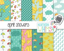 "Rainy Weather Digital Paper Pack - ""April Showers"" - Spring Scrapbook Paper with rain, cloud, umbrella, & raincoat patterns - commercial use"