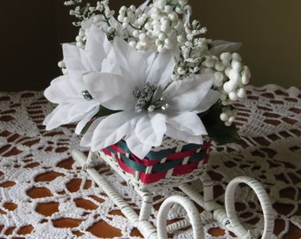 Sleigh Flower Arrangement Sleigh Floral Arrangement Sleigh Decoration Christmas Decoration Christmas Centerpiece Home Decoration