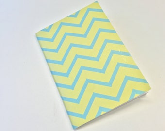 lemon and blue chevron a6 notebook