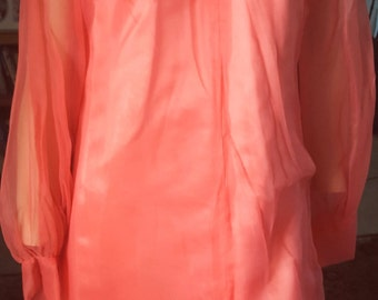 Mad Men 1960s Dress Coral  Chiffon Sheer and Satin  Mint  STUNNING Dress  Excellent Condition Minor Wear if was any - On SALE Now!