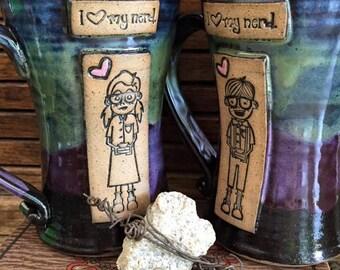 Nerd Mugs - His and Hers Nerd Love Mug  PAIR - 10.5 Ounces - Aurora Borealis - Wheelthrown Pottery