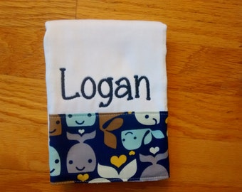Personalized Whale Burp Cloth