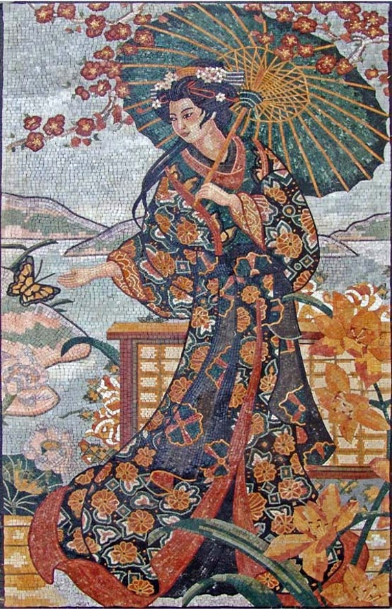 Charming japanese geisha marble mosaic mural for Chinese mural painting