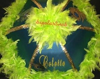 Peacock themed Wedding Parasol, New Orleans Traditional  Second line Umbrella,  (Bride, Bridesmaids birthday party)