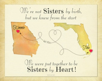 Not Sisters by Birth but Sisters by Heart Gift, Birthday Gift for Best Friend, Moving Away Gift for Friend, Long Distance Gift, Map Art
