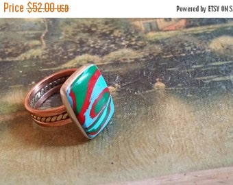 SUMMER END SALE Rainbow Clasilica  Summer Sale .925 Sterling  Silver Band Ring Copper Gemstone Size 8.5