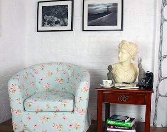 Ikea Ektorp Tullsta Tub Chair Slip Cover in beautiful English Rose print fabric