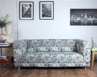 Ikea Slip Cover in Stunning Black and White London Linen blend Klippan, Klobo, Tullsta, Olarp, Poang,Solsta, Lycksele