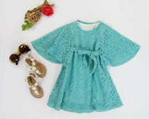 Girl's Boho Dyed Teal Lace Dress Sizes 2T/3T, 3/4, 4/5, 6/7, 8/10 Ready to Ship