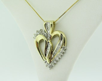 Diamond Heart Pendant, 10 K Gold