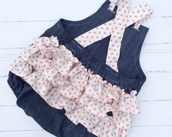 Pink Chambray Romper , Chambray Romper , Chambray Baby Romper , Chambray Baby Clothing , Floral Romper , Chambray Toddler Romper , Romper