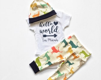 Hello World Set, Baby Boy Set, Coming Home Outfit, Going Home Outfit, Newborn Baby Boy, Coming Home Set, Going Home Set, Oh Deer