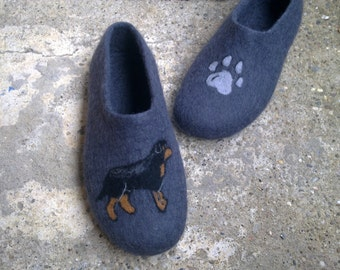 OOAK Men wool shoes Felted wool slippers Boiled wool slippers Men house shoes Rottweiler shoes Christmas gift Men wool slippers Paw print