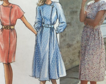Vintage 1992 Simplicity 7754 Misses Petite 12-18 Dress with Slim or Full skirt and Belt Sewing Pattern
